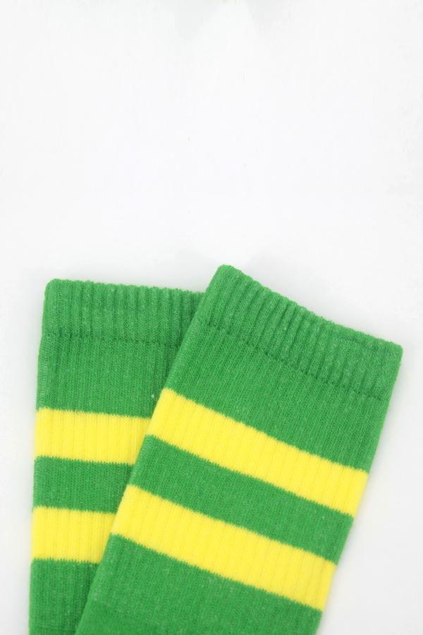 Get Going Sarı Çizgili Kısa Koton Spor Çorap Yeşil