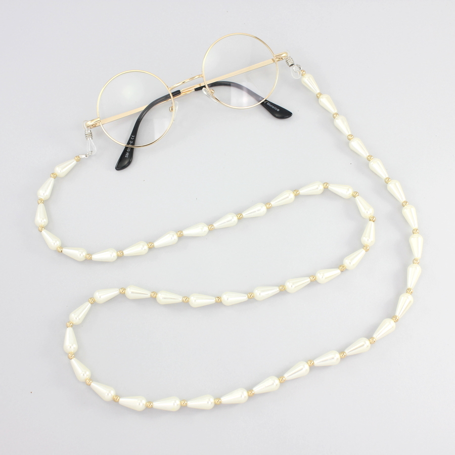 Gold Boncuklu Uzun İncili Gözlük Zinciri Beyaz