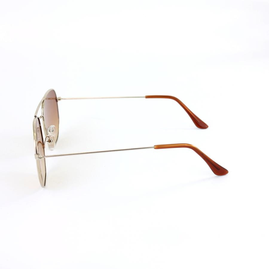 Gold Çerçeveli Altıgen Unisex Güneş Gözlüğü Degrade Kahverengi