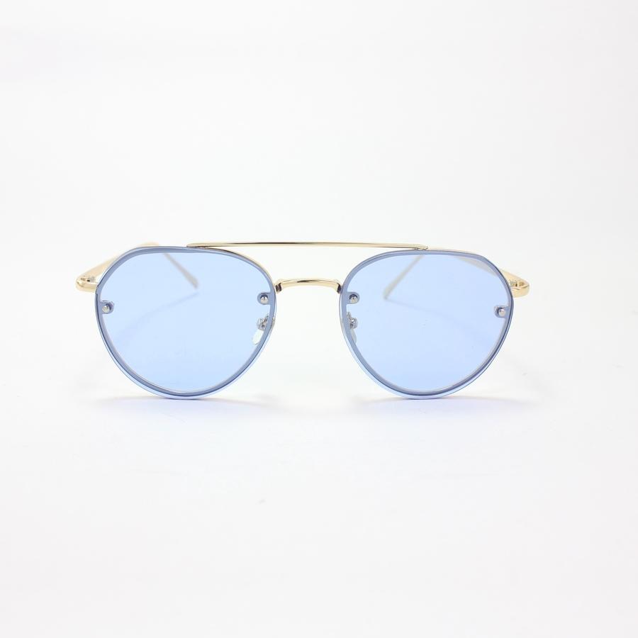 Gold Çerçeveli Şeffaf Mavi Damla Güneş Gözlüğü