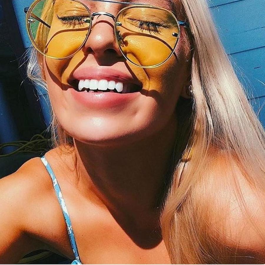 Gold Çerçeveli Şeffaf Sarı Damla Güneş Gözlüğü