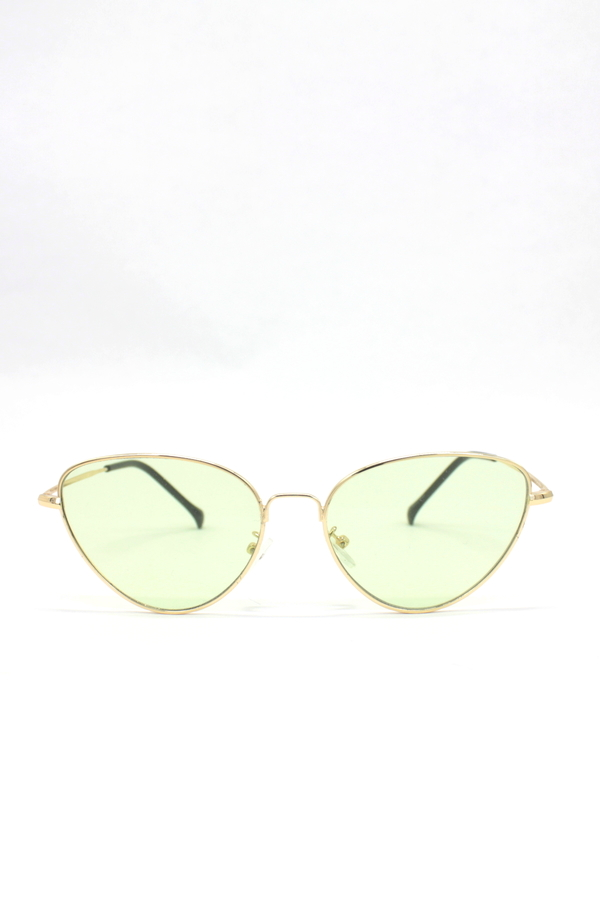 Gold Metal Çerçeveli Cat Eye Bayan Güneş Gözlüğü Yeşil