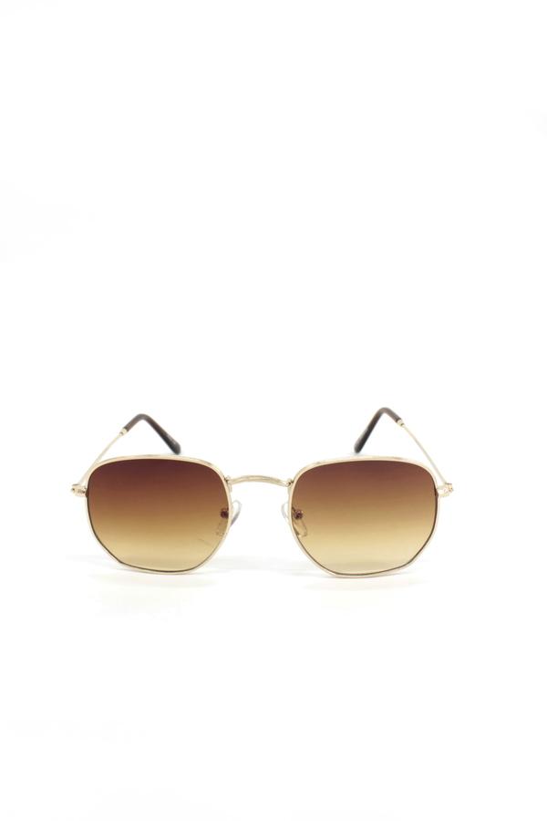 Gold Metal Çerçeveli Küçük Beşgen Unisex Güneş Gözlüğü Kahverengi