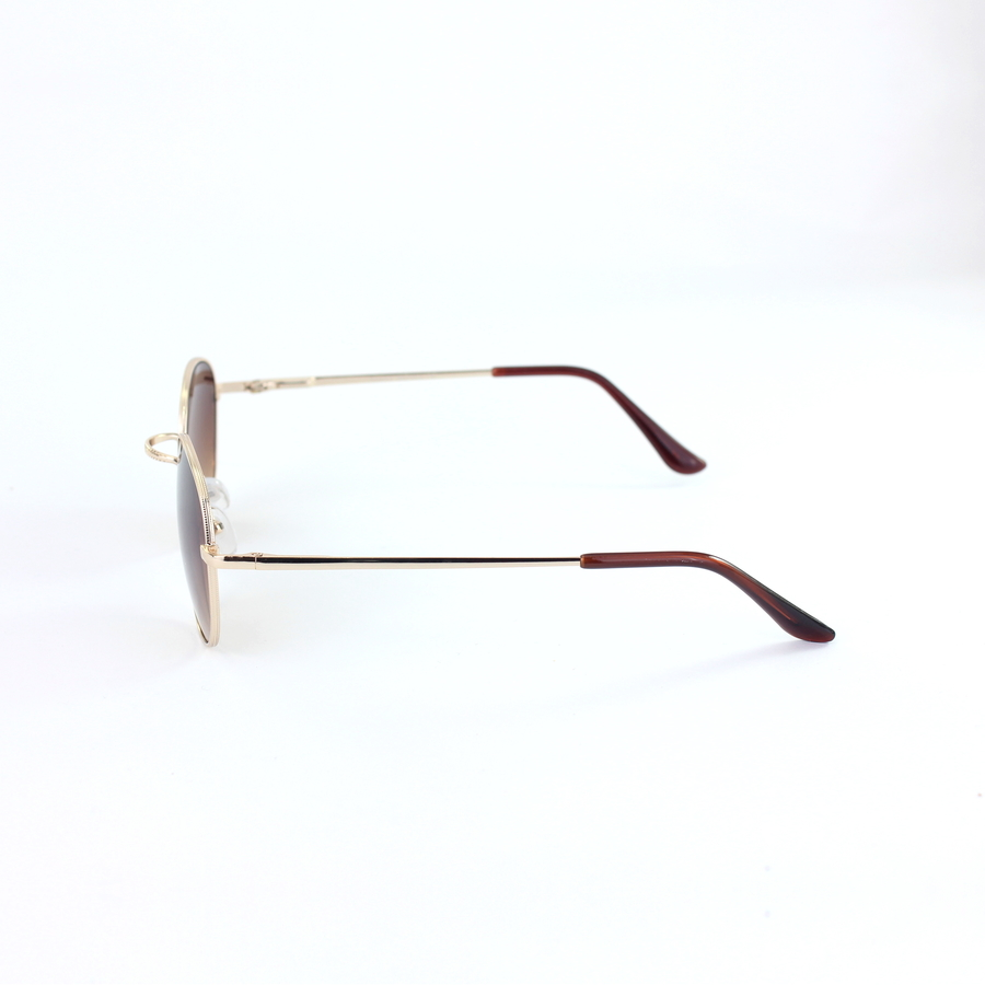 Gold Metal Çerçeveli Küçük Yuvarlak Unisex Güneş Gözlüğü Kahverengi