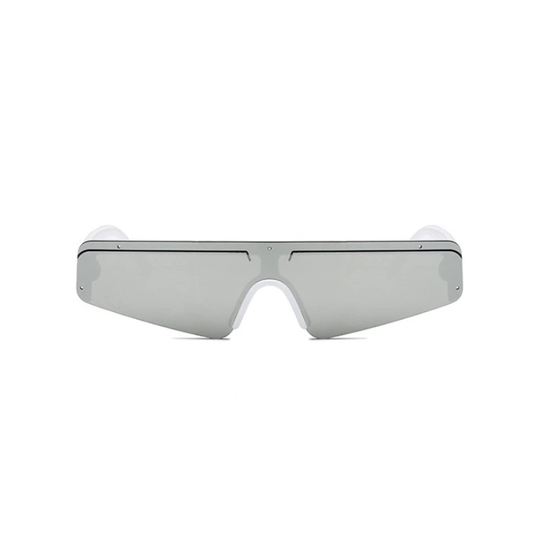 Oculos Goemetrik Silver Aynalı Camlı Unisex Güneş Gözlüğü Beyaz