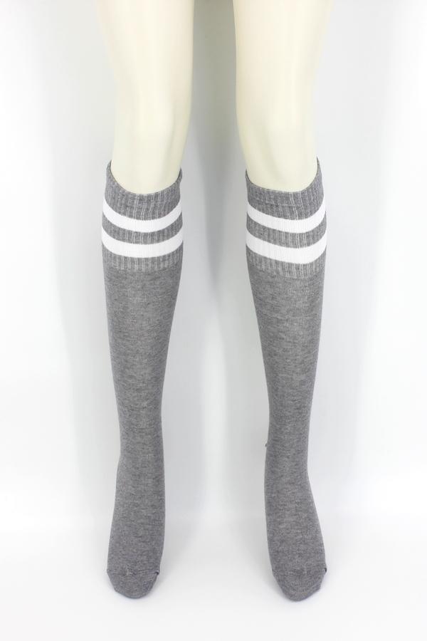 Icon Beyaz Çizgili Diz Altı Koton Spor Çorap Gri