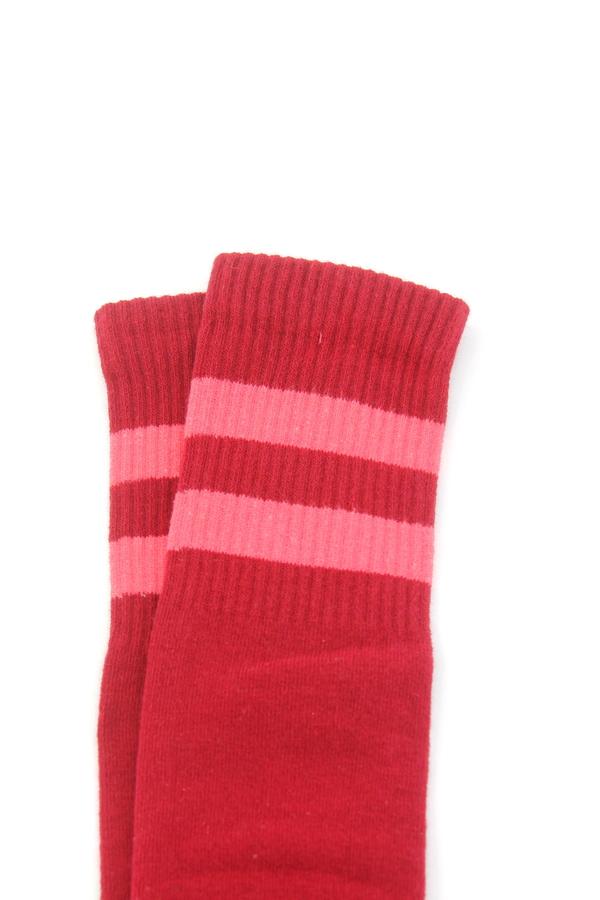 Icon Pembe Çizgili Diz Altı Koton Spor Çorap Bordo