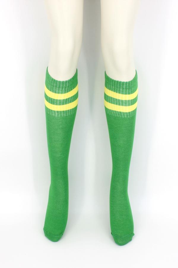 Icon Sarı Çizgili Diz Altı Koton Spor Çorap Yeşil
