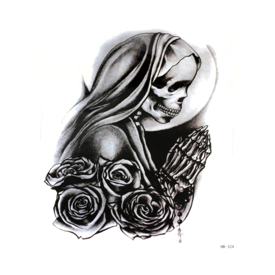 İskelet & Güller Siyah Geçici Dövme