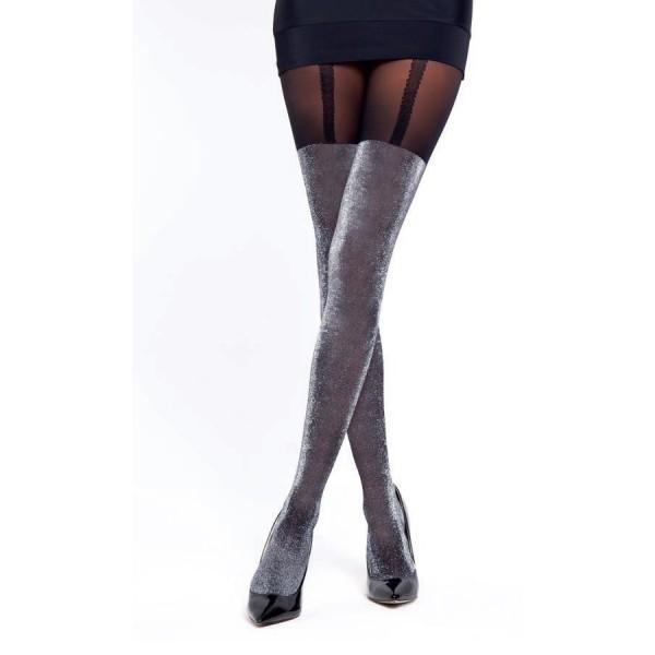 Jartiyer Desenli İnce Külotlu Çorap Siyah - Gümüş