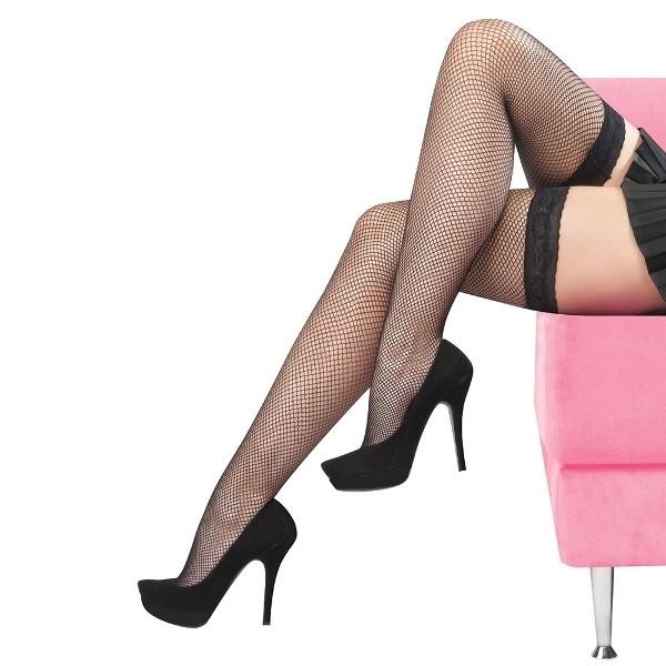 Jartiyersiz Slikon Dantelli File Dizüstü Çorap Siyah