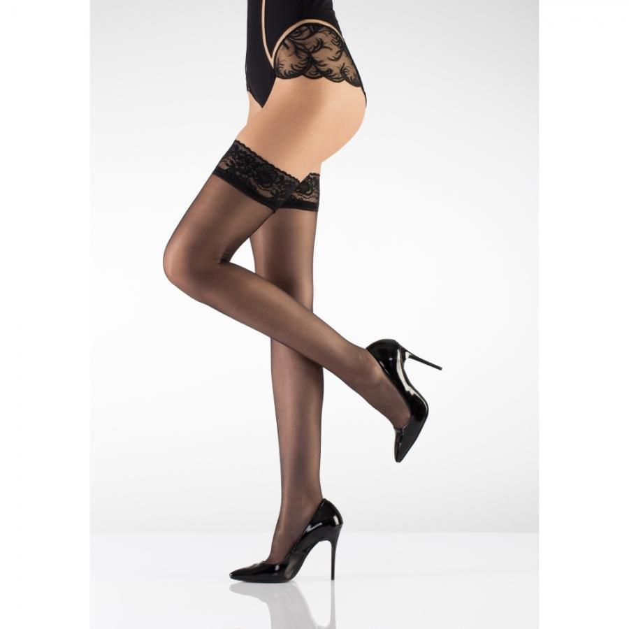 Jartiyersiz Slikon Dantelli Parlak İnce Dizüstü Çorap 15 Denye Siyah