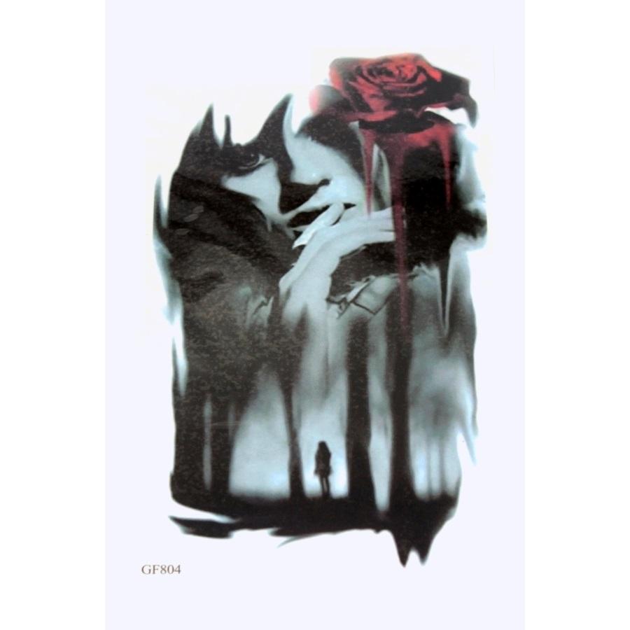 Kadın & Kırmızı Gül Siyah Geçici Dövme