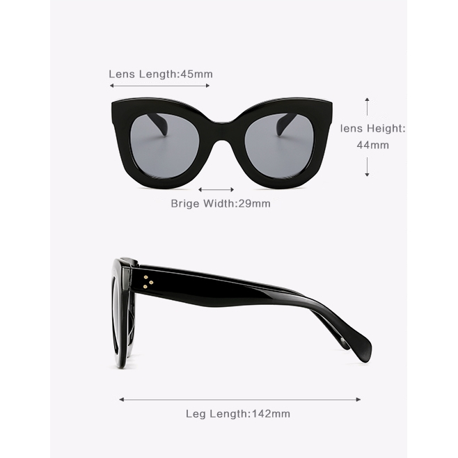 Vision Kalın Çerçeveli Oval Bayan Güneş Gözlüğü Mat Siyah