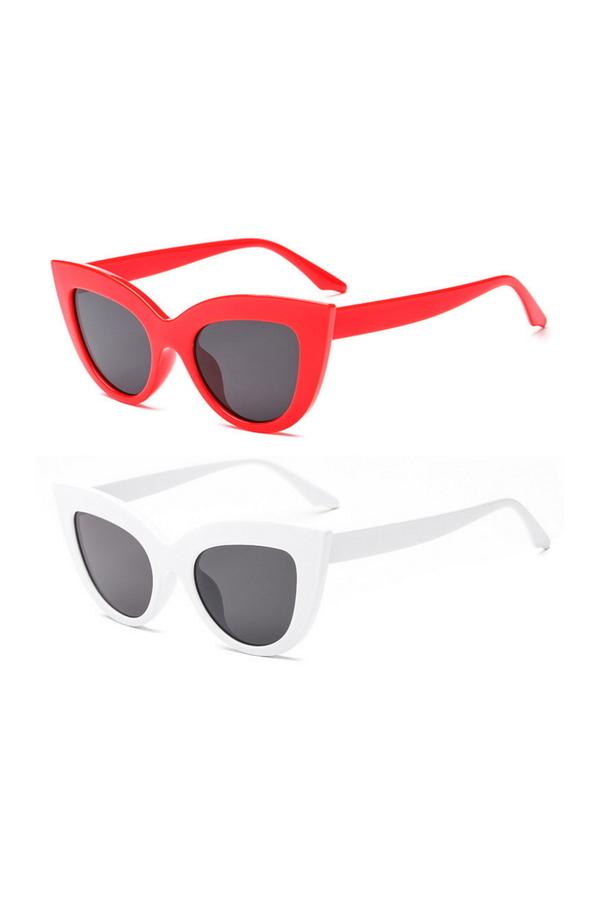 Kalın Çerçeveli Tasarım Cat Eye Bayan Güneş Gözlüğü Kırmızı Beyaz 2'li