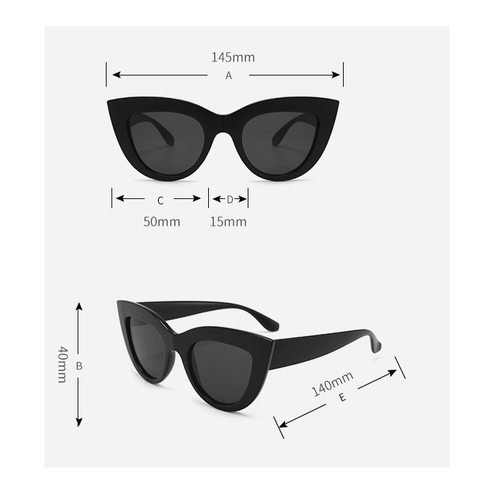 Kalın Çerçeveli Tasarım Cat Eye Bayan Güneş Gözlüğü Krem Rengi