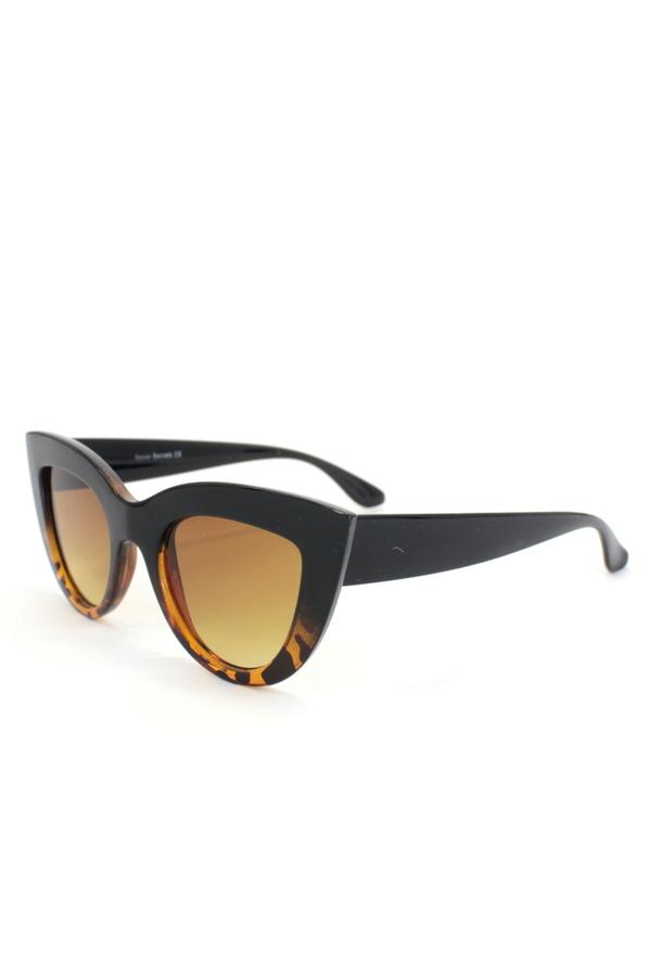 Kalın Çerçeveli Tasarım Cat Eye Bayan Güneş Gözlüğü Leopar Siyah