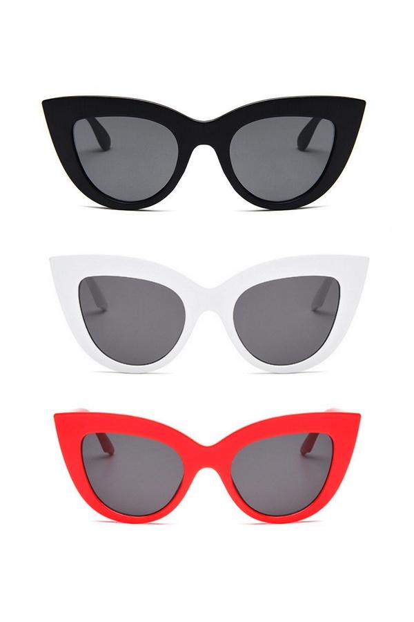 Kalın Çerçeveli Tasarım Cat Eye Bayan Güneş Gözlüğü Siyah Beyaz Kırmızı 3'lü