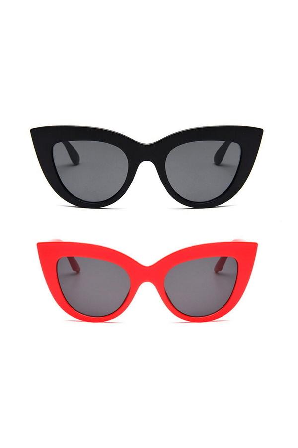 Kalın Çerçeveli Tasarım Cat Eye Bayan Güneş Gözlüğü Siyah Kırmızı 2'li