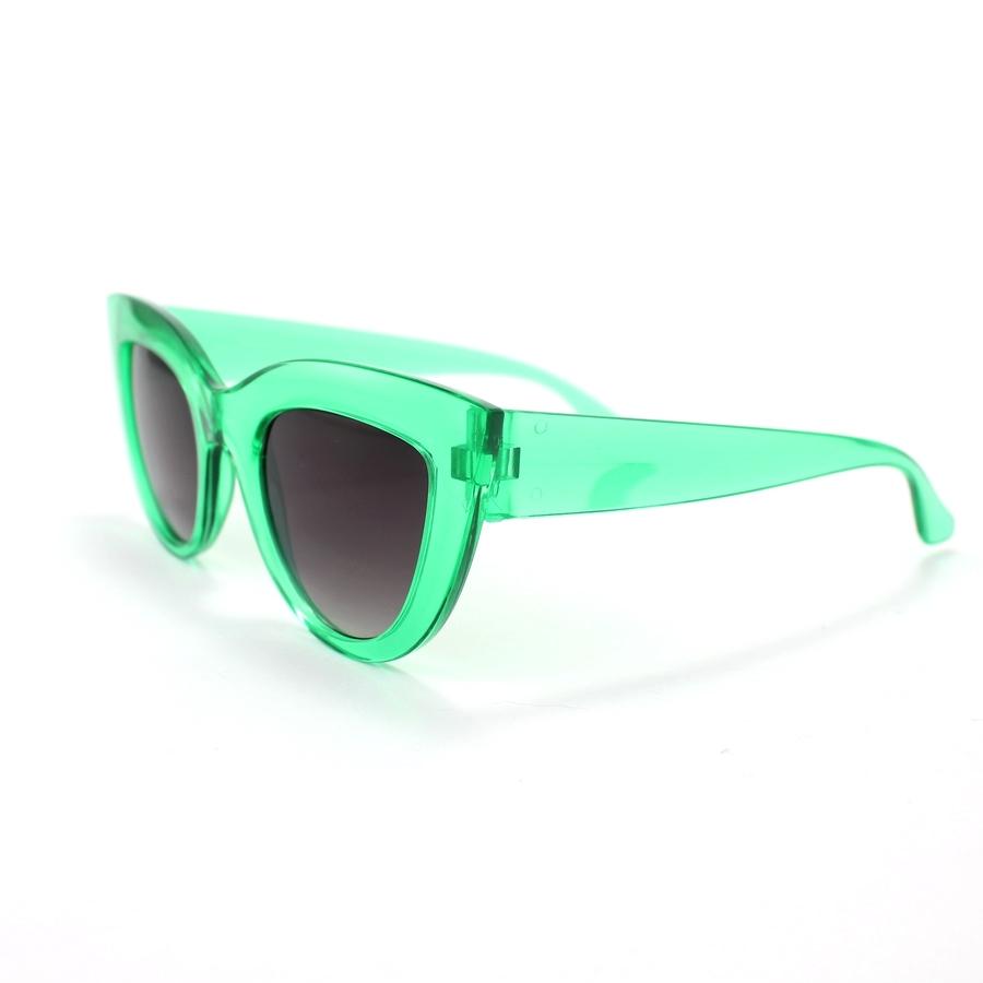 Kalın Çerçeveli Tasarım Cat Eye Bayan Güneş Gözlüğü Yeşil