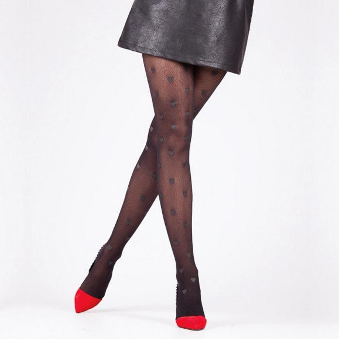 Kalp Desenli Külotlu Çorap Siyah
