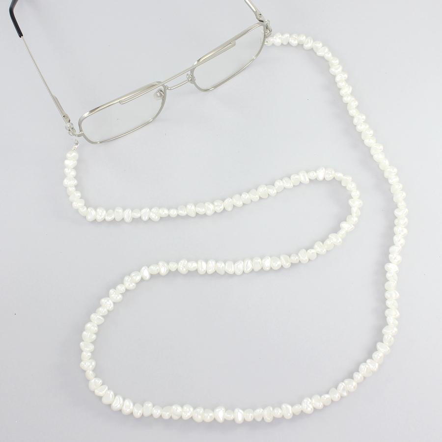 Kırık İncili Gözlük Zinciri Beyaz