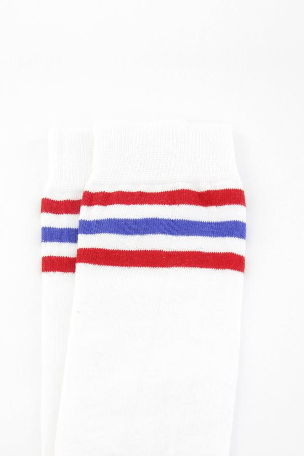 Kırmızı Mavi Çizgili Pamuklu Diz Üstü Çorap Beyaz