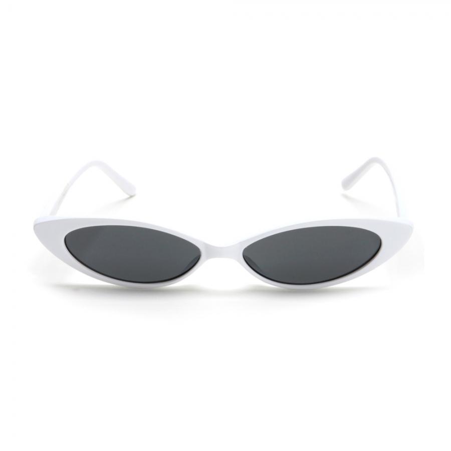 Küçük Oval Çekik Güneş Gözlüğü Beyaz