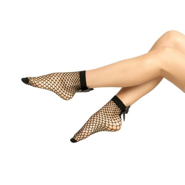 Kurdele Aksesuarlı Fiyonklu File Desenli Kısa Çorap Siyah