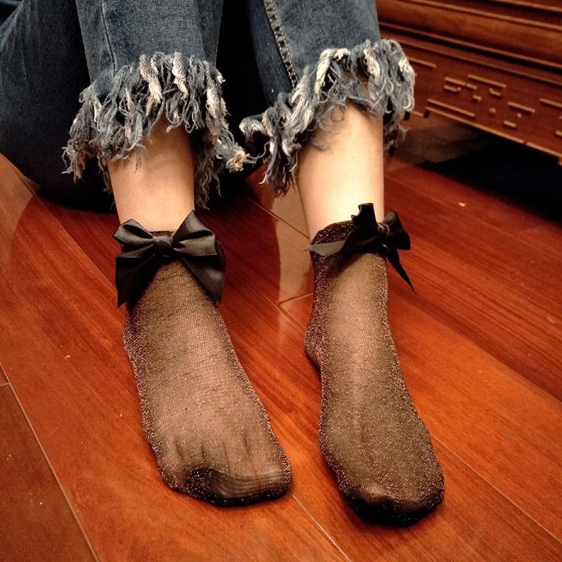 Kurdeleli Kısa Simli İnce Çorap Siyah