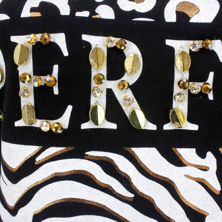 Leopar Yazılı Taşlı Sweatshrit Siyah