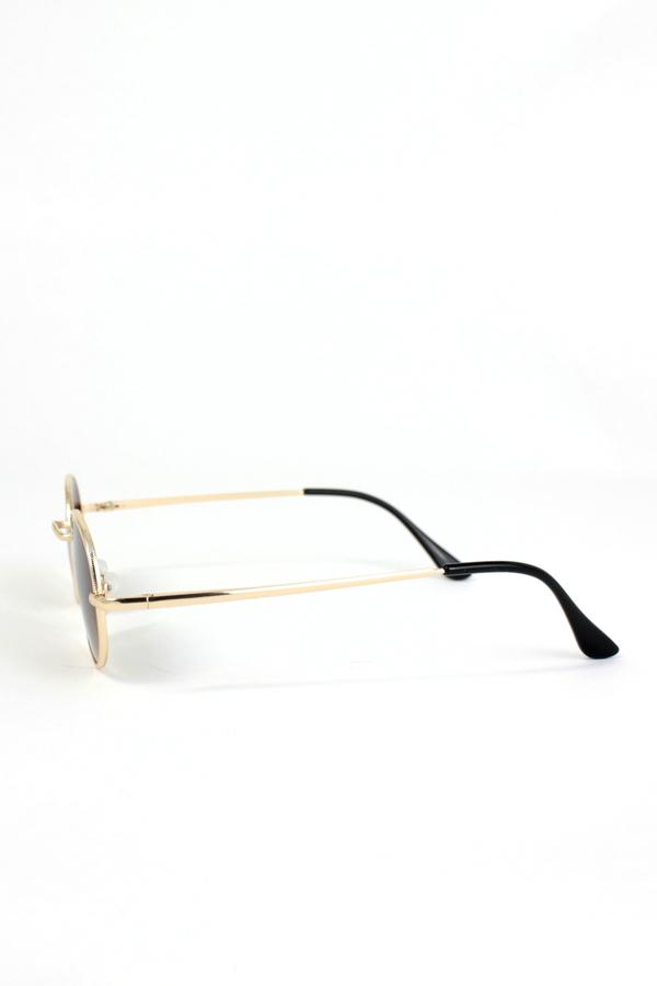 Lucy Gold Metal Çerçeveli Küçük Yuvarlak Unisex Güneş Gözlüğü Degrade Kahverengi