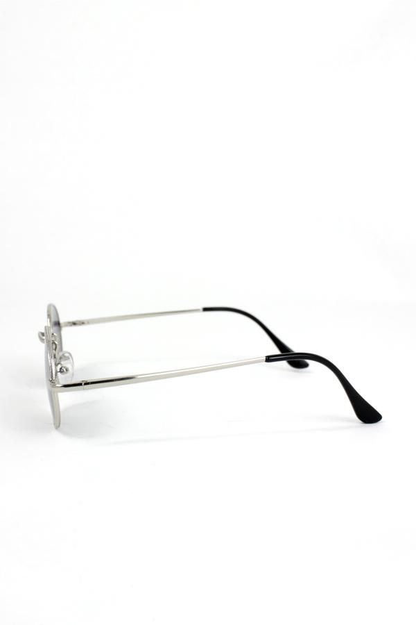 Lucy Silver Metal Çerçeveli Küçük Yuvarlak Unisex Güneş Gözlüğü Degrade Siyah