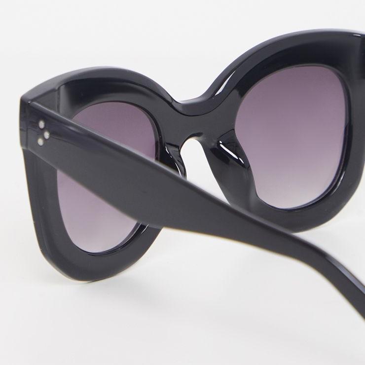 Marta Kalın Kemik Çerçeveli Oval Güneş Gözlüğü Siyah