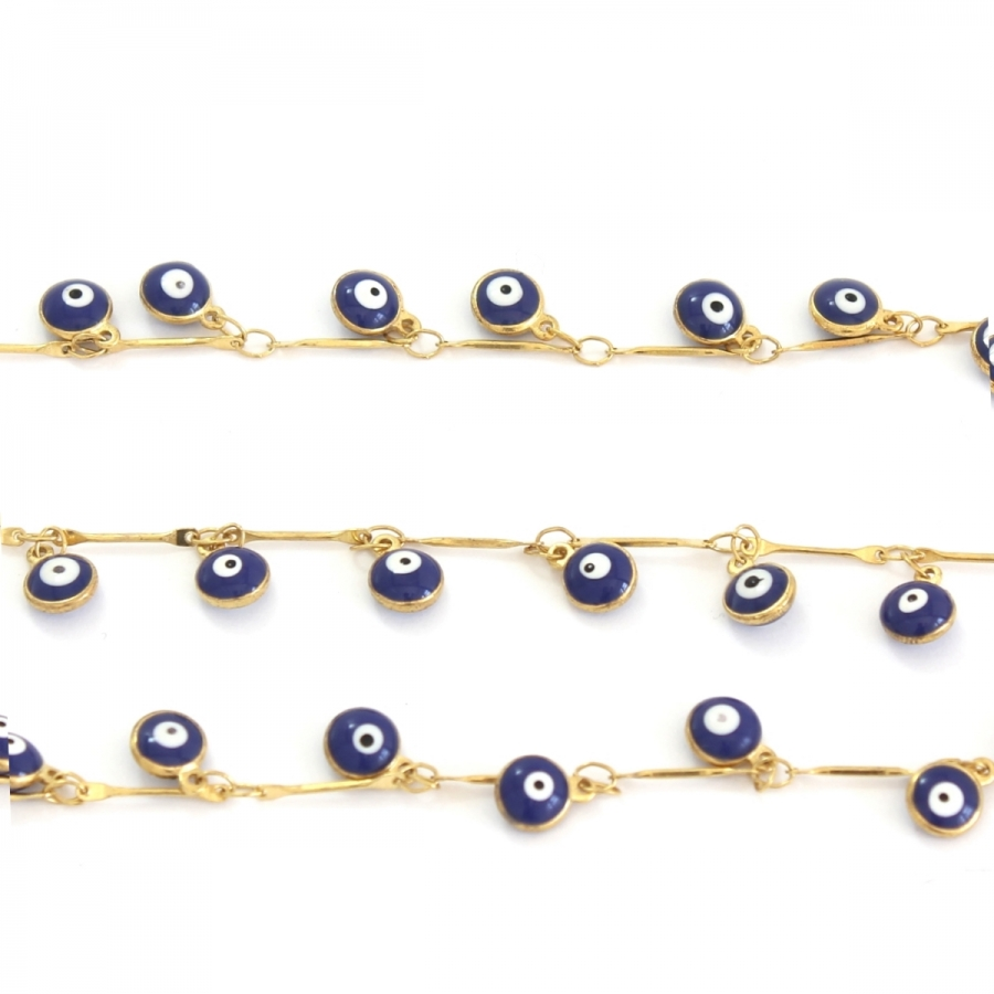 Mavi Nazar Boncuklu Gözlük Zinciri Gold