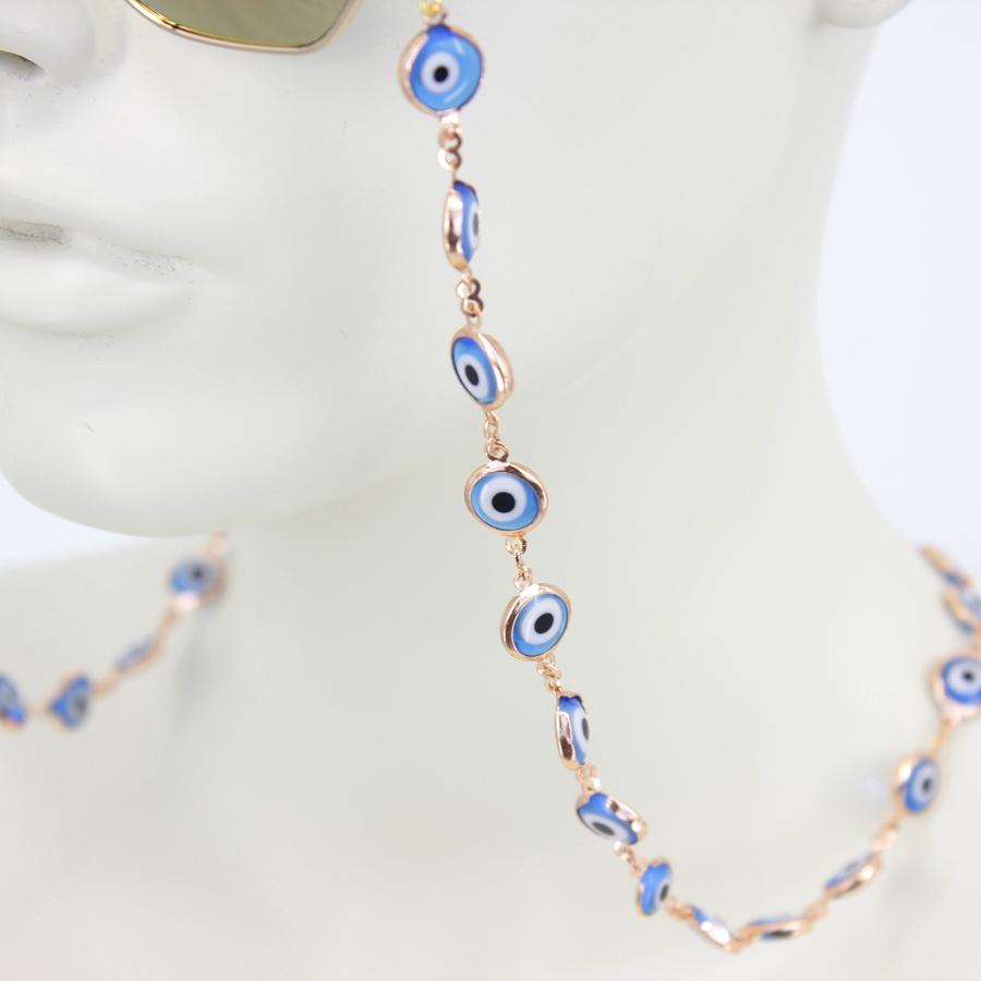 Mavi Nazar Boncuklu Gözlük Zinciri Rose
