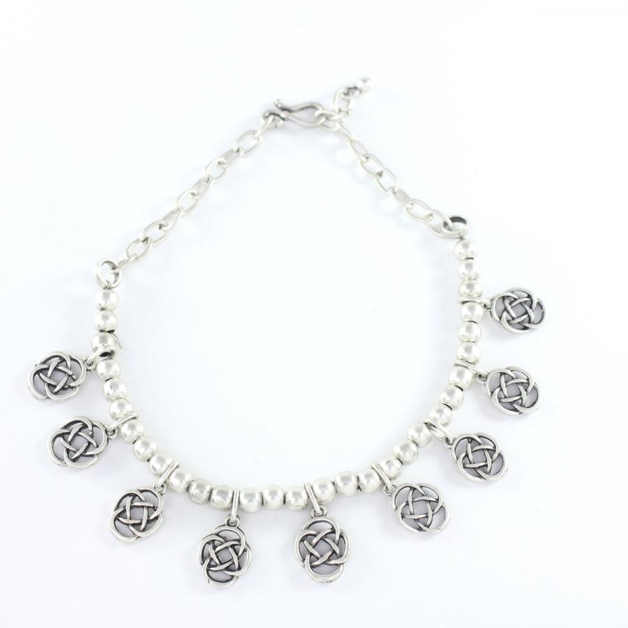 Metal Boncuklu Sallantılı Boho Halhal Silver