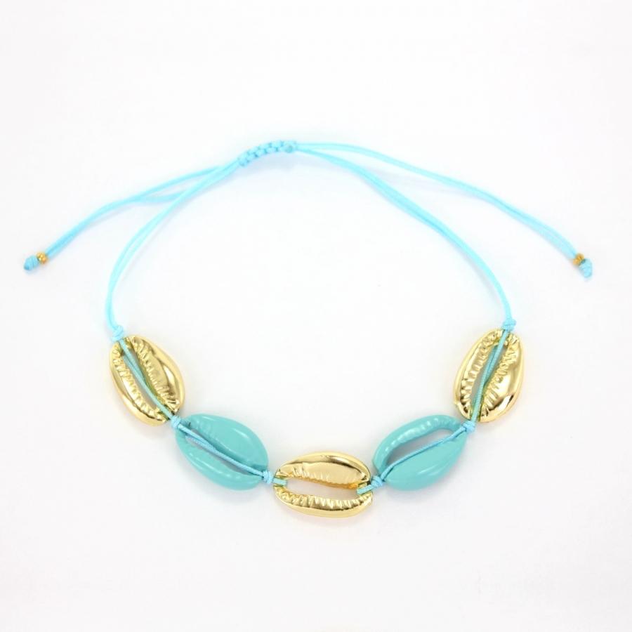 Metal Deniz Kabuğu Bileklik Gold Mavi