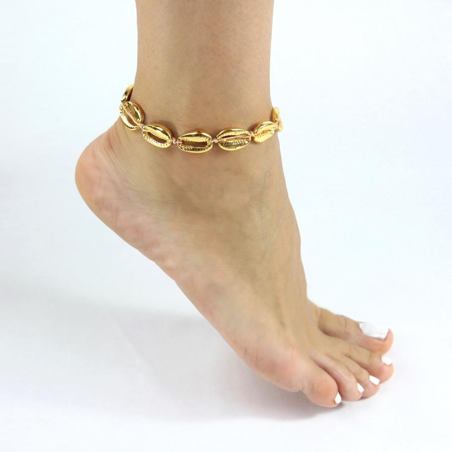Metal Deniz Kabuğu Halhal Gold