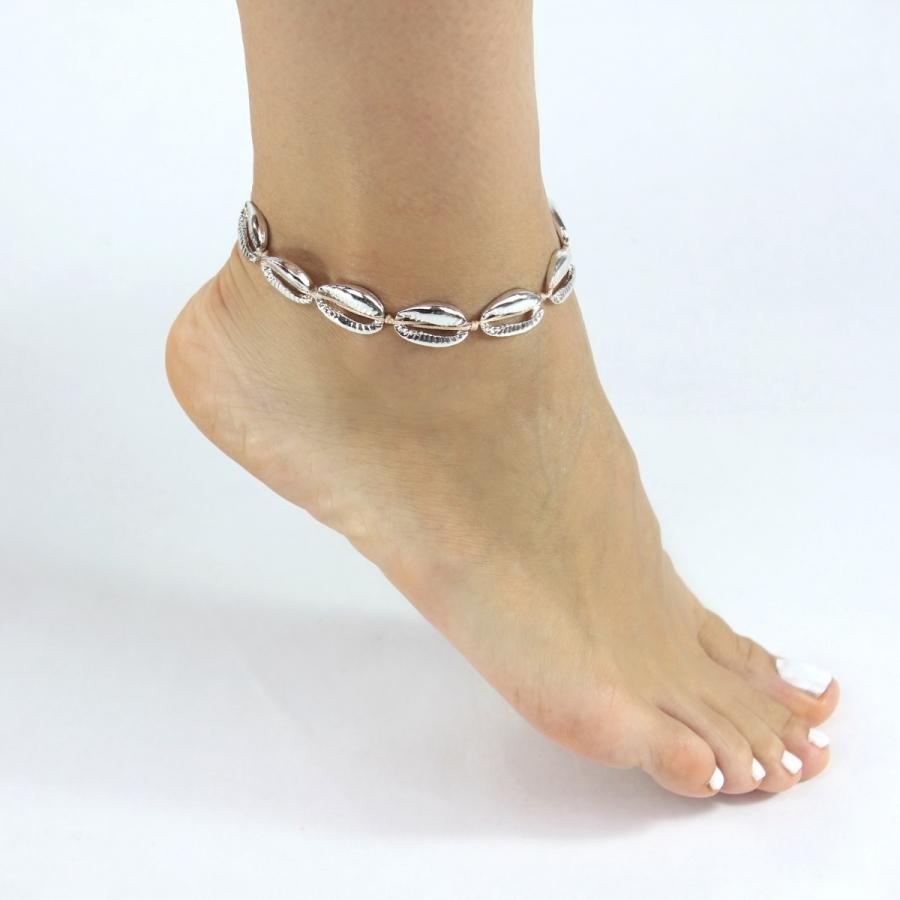 Metal Deniz Kabuğu Halhal Silver