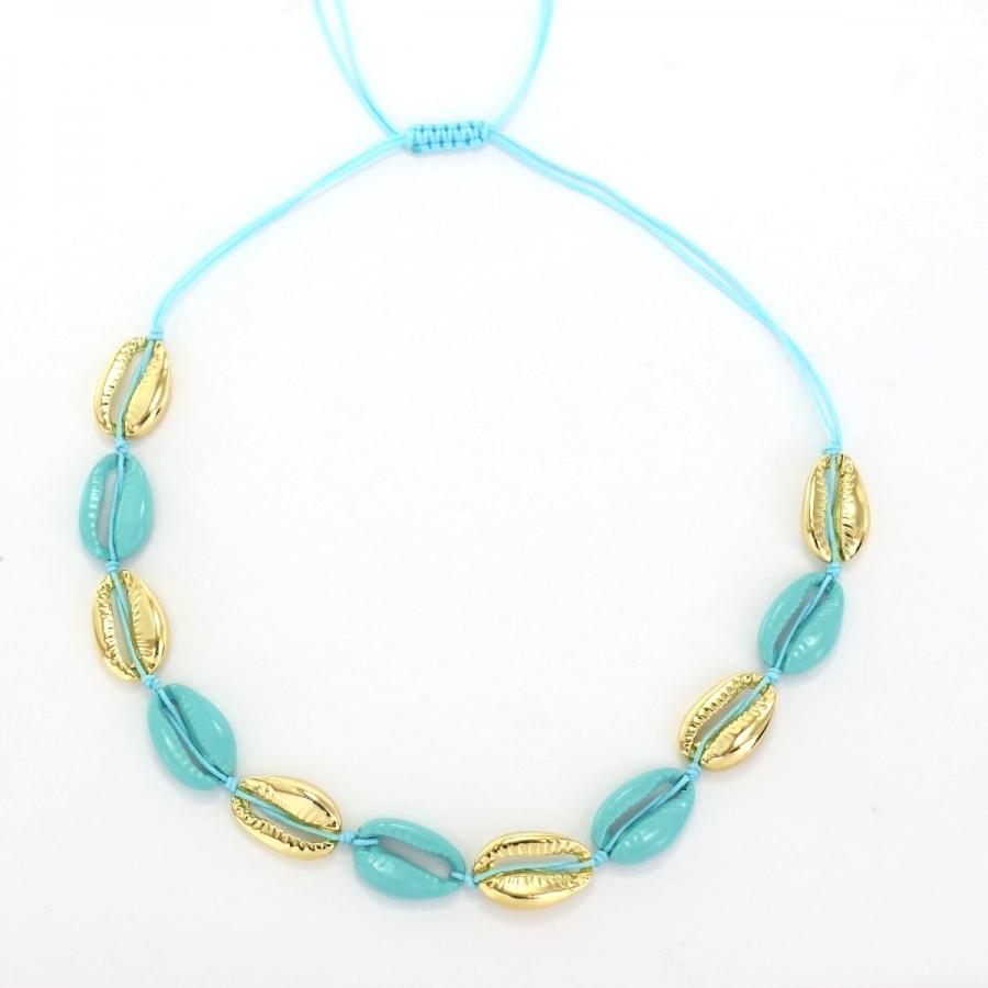 Metal Deniz Kabuğu Kolye Gold Mavi
