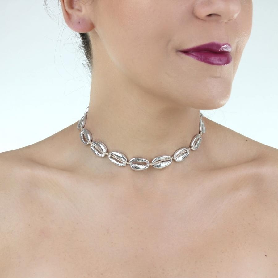 Metal Deniz Kabuğu Kolye Silver