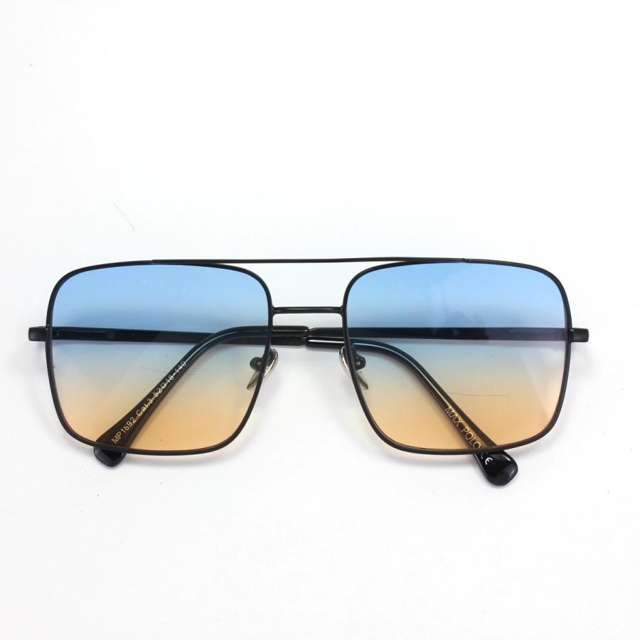 Mexx Siyah Metal Çerçeveli Mavi Sarı Camlı Kare Unisex Güneş Gözlüğü