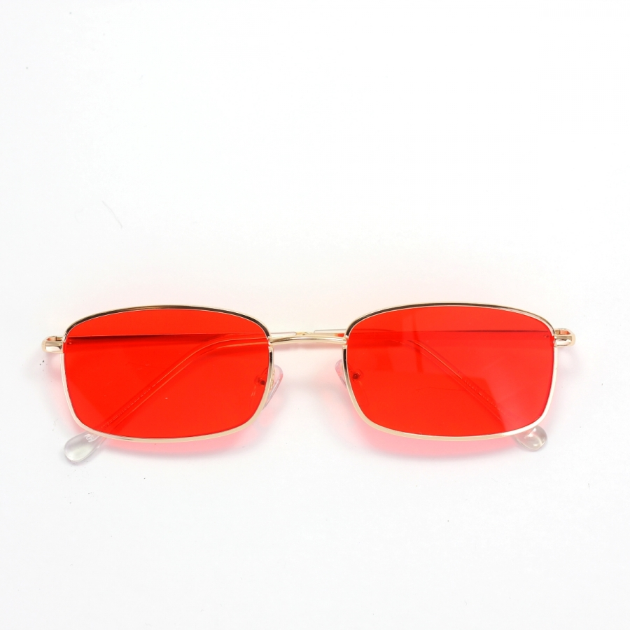 Mia Gold Çerçeveli Küçük Dikdörtgen Unisex Güneş Gözlüğü Kırmızı