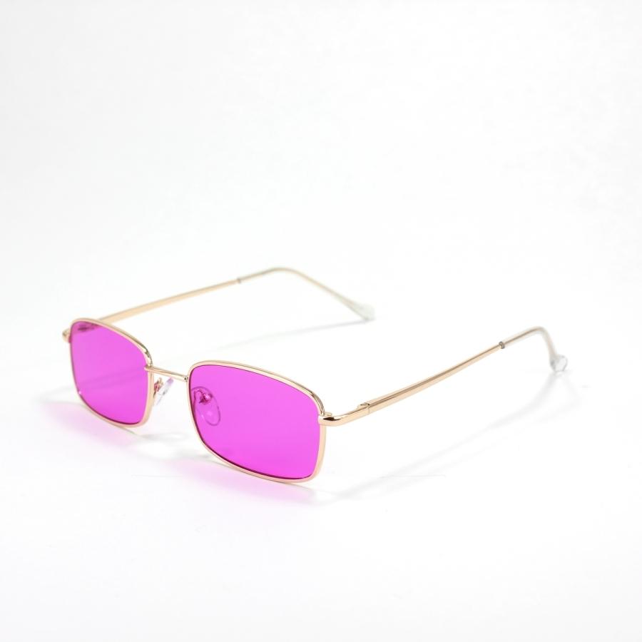 Mia Gold Çerçeveli Küçük Dikdörtgen Unisex Güneş Gözlüğü Mor