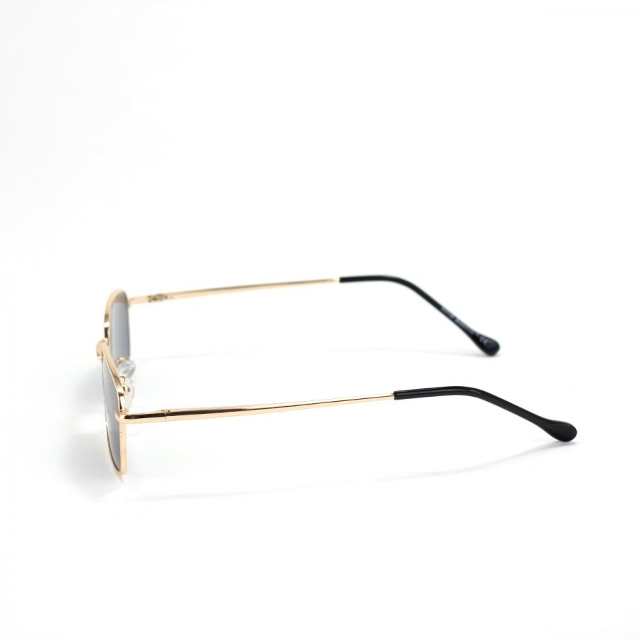 Mia Gold Çerçeveli Küçük Dikdörtgen Unisex Güneş Gözlüğü Siyah