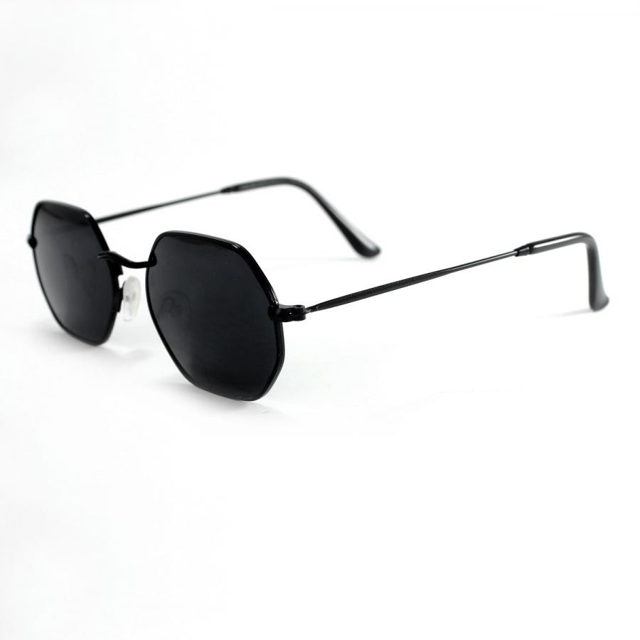 Mica Siyah Metal Çerçeveli Altıgen Güneş Gözlüğü Siyah