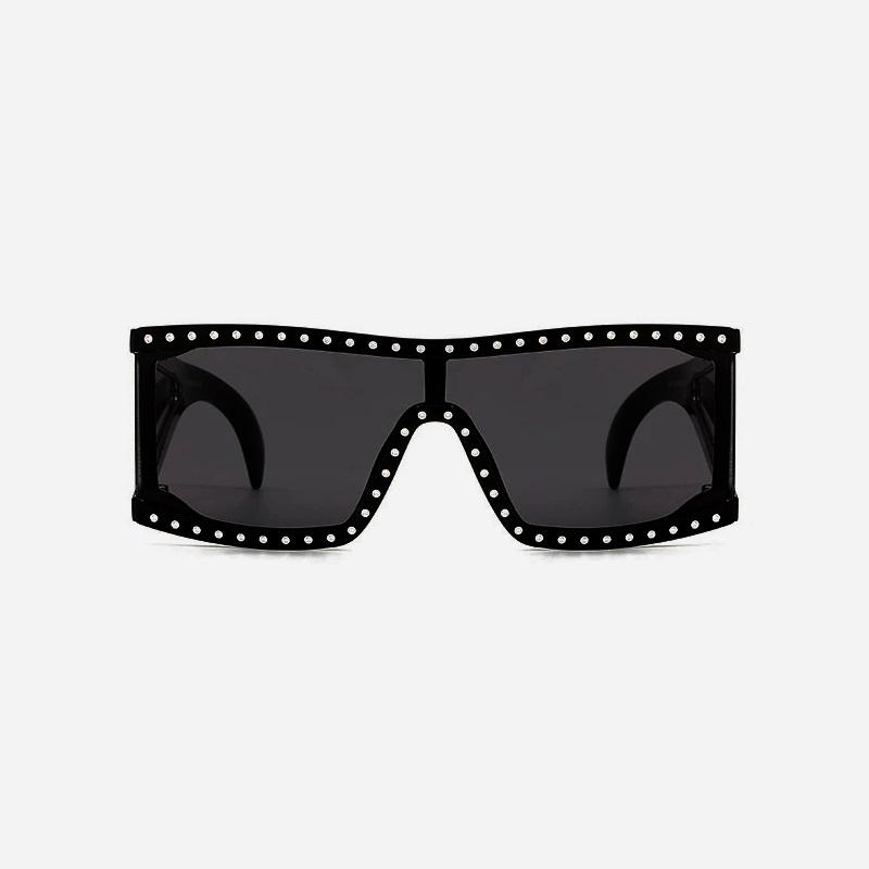Midnight Taşlı Kare Büyük Güneş Gözlüğü Siyah