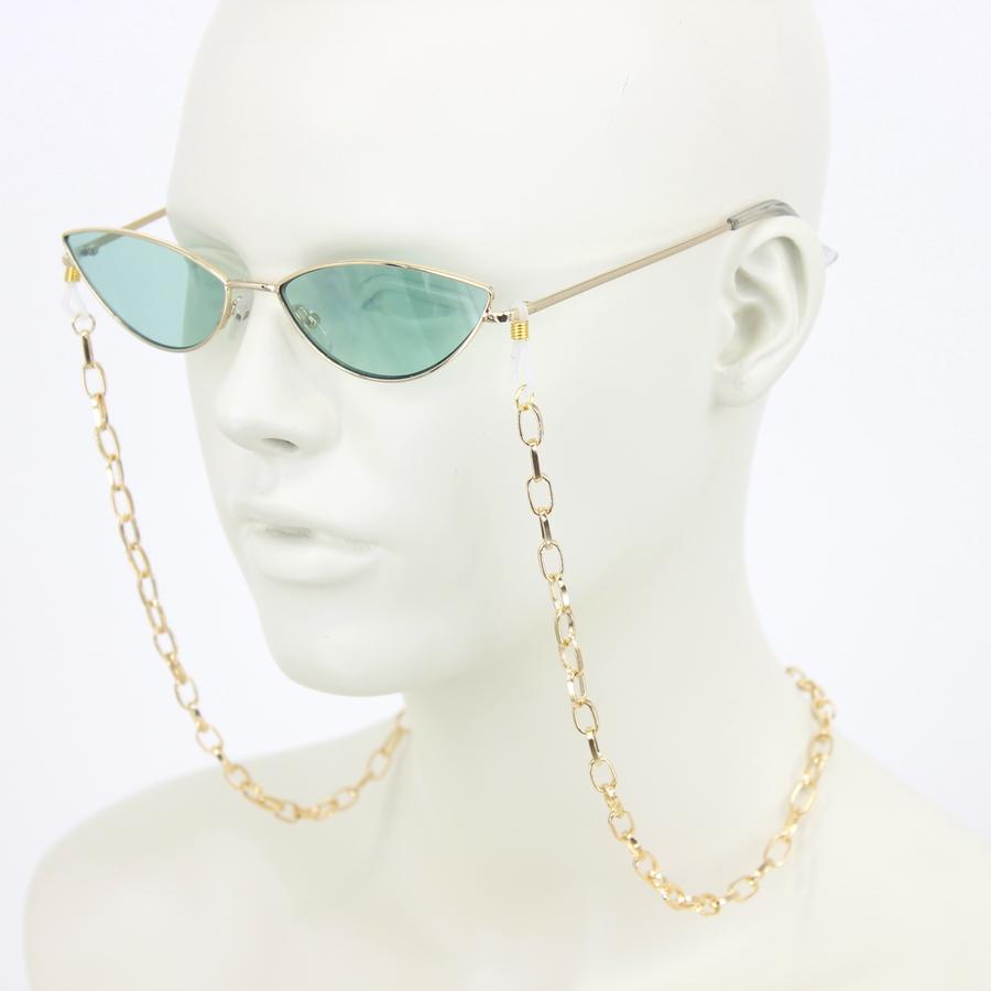Mini Uzun Oval Zincirli Gözlük Zinciri Gold