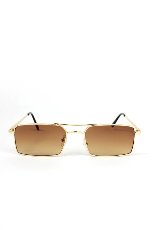 Monza Gold Metal Çerçeveli Küçük Dikdörtgen Güneş Gözlüğü Kahverengi